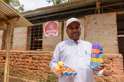 Ramesh Kharel, 49, retrieved a few toys from the school where he taught children with intellectual disabilities. The Resource