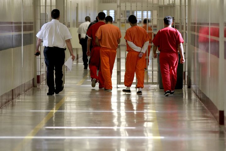 Detainees at Stewart Detention Center in Lumpkin, Ga., are escorted through a corridor in this file photo. The center is the