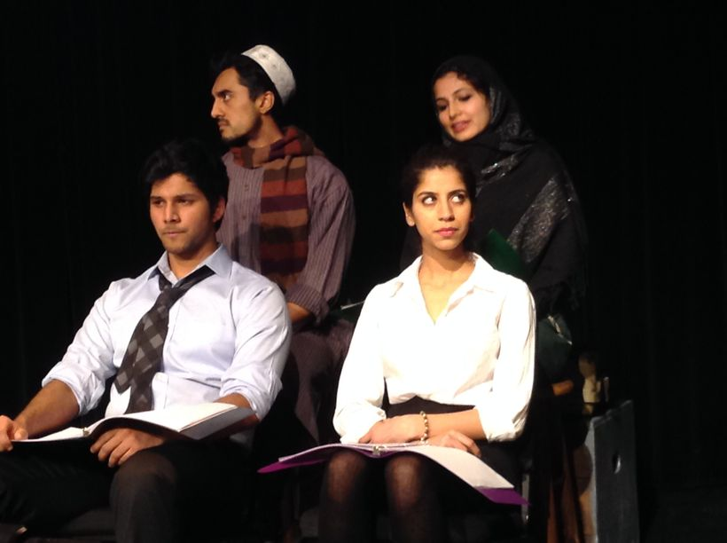 """Staged reading of """"Muslim in the Midst by Anand Rao, directed by Gene Santarelli (Artistic New Directions) - Left to Right:&n"""