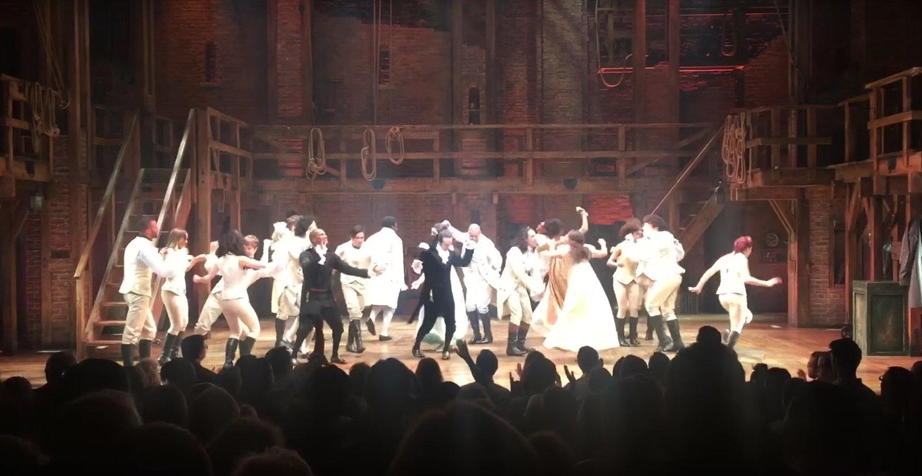 Hamilton cast dances in tribute to Prince.