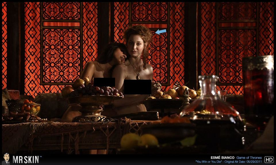 Esme Bianco and Sahara Knite demonstrate their brothel skills while Littlefinger advances the plot.<strong></strong>