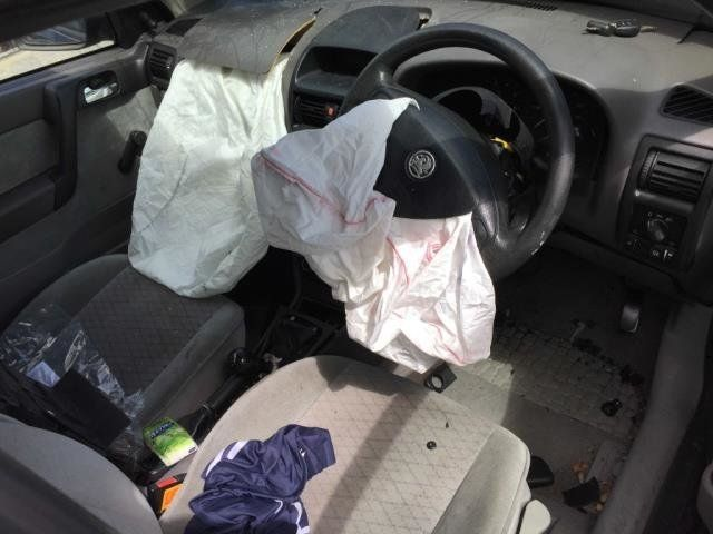 The inside of his car after he was cut
