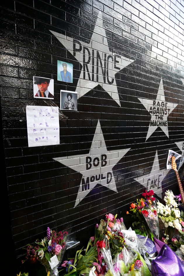 Prince's star adorns the wall at First Avenue as a memorial grew outside First