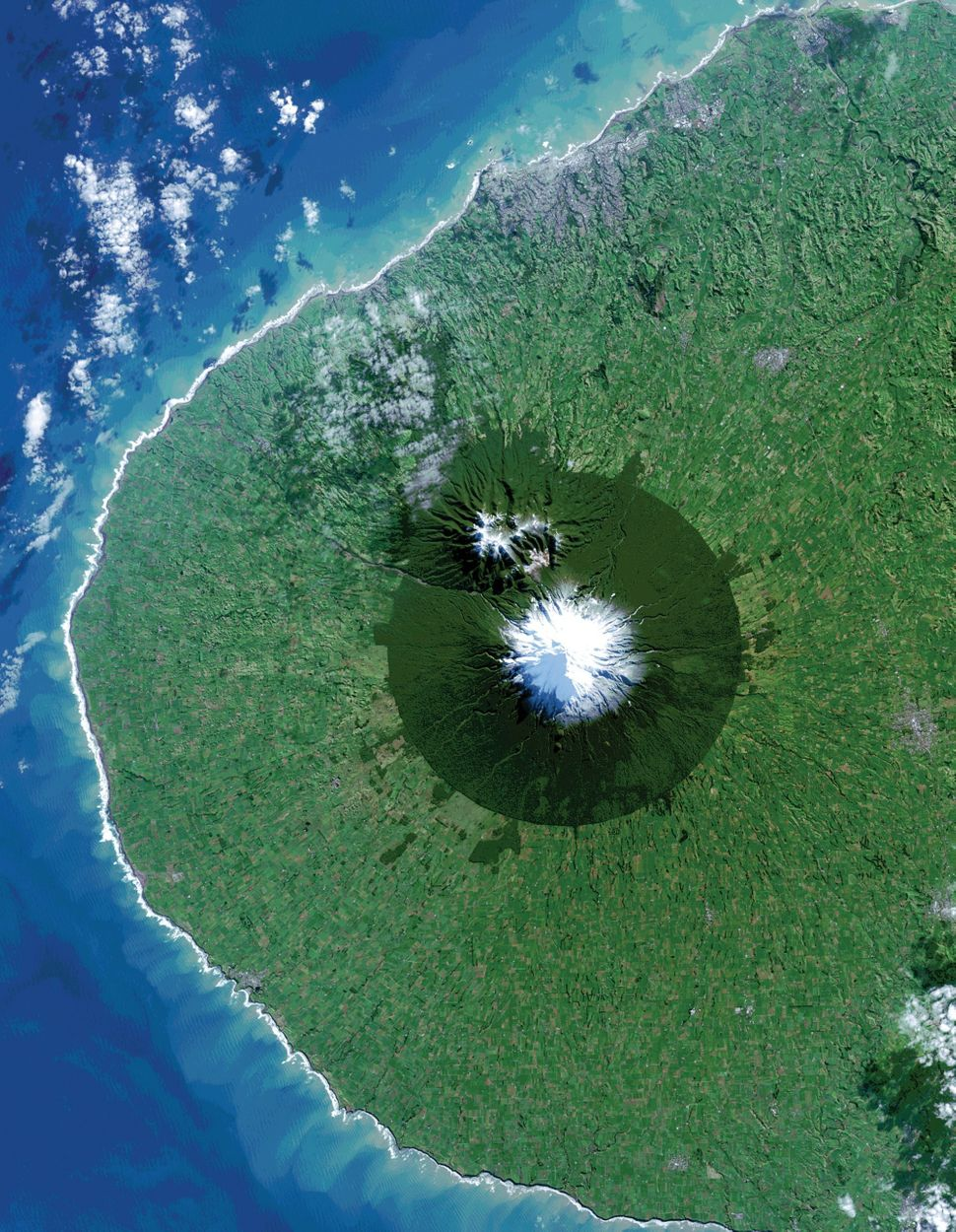 An aerial view of Egmont National Park in New Zealand.