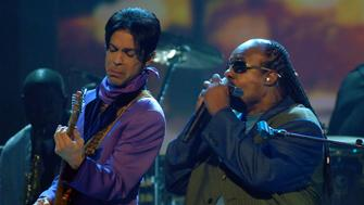 Prince and Stevie Wonder perform 'Through the Fire' (Photo by M. Caulfield/WireImage)