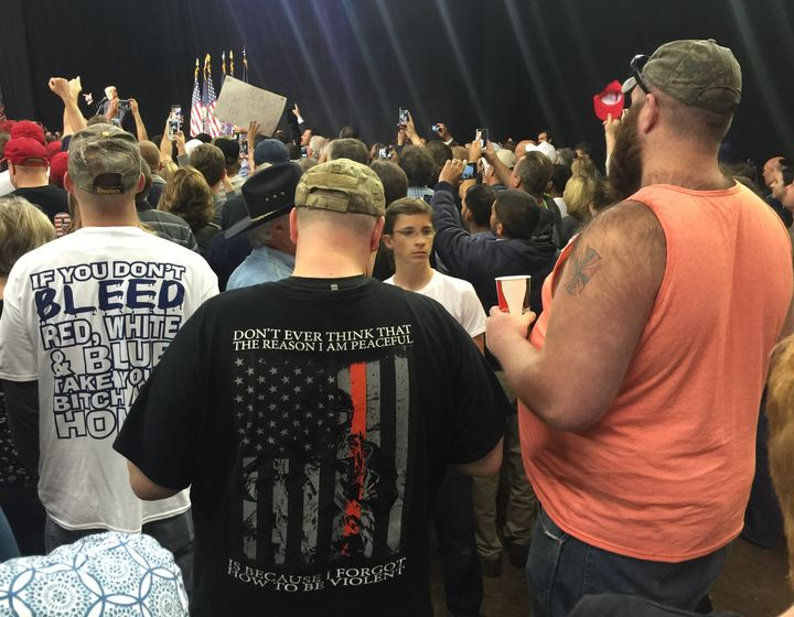 A few of the people trying to get into the Trump rally this week in Harrisburg, Pennsylvania.