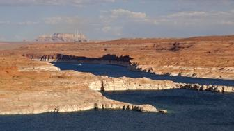 View of lake Powell and the Navajo power generating station (background) near Page, Arizona August 12, 2012. REUTERS/Charles Platiau (UNITED STATES - Tags: TRAVEL)