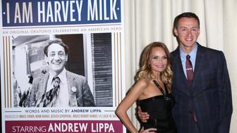 NEW YORK, NY - OCTOBER 06:  Kristin Chenoweth and Andrew Lippa attend the After Party for the One-Night-Only Benefit Concert  Premiere of 'I Am Harvey Milk' at Bryant Park Grill on October 6, 2014 in New York City.  (Photo by Walter McBride/WireImage)