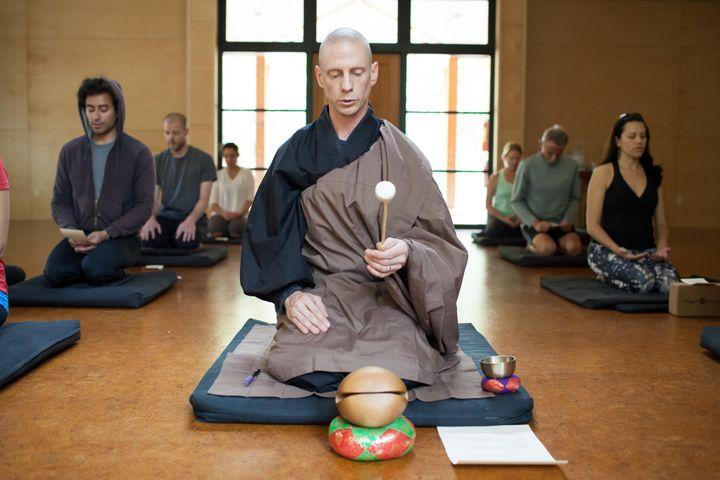 A Buddhist leader at California'sTassajara Zen Mountain Center leads a group through a meditation.