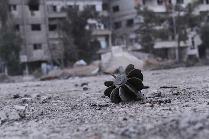 The remains of a mortar are seen in Daraya. Haboub's familyhad beenactive in protests and in distributing anti-re