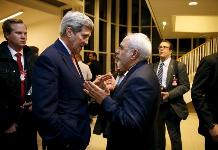 Secretary of State John Kerry talks with Iranian Foreign Minister Mohammad Javad Zarif in Vienna on Jan. 16, 2016.