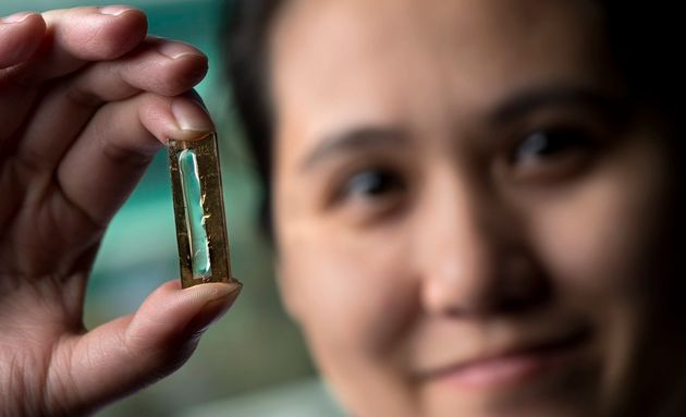 Mya Le Thai, a doctoral candidate at the University of California, Irvine, holdingthe nanowire-based...