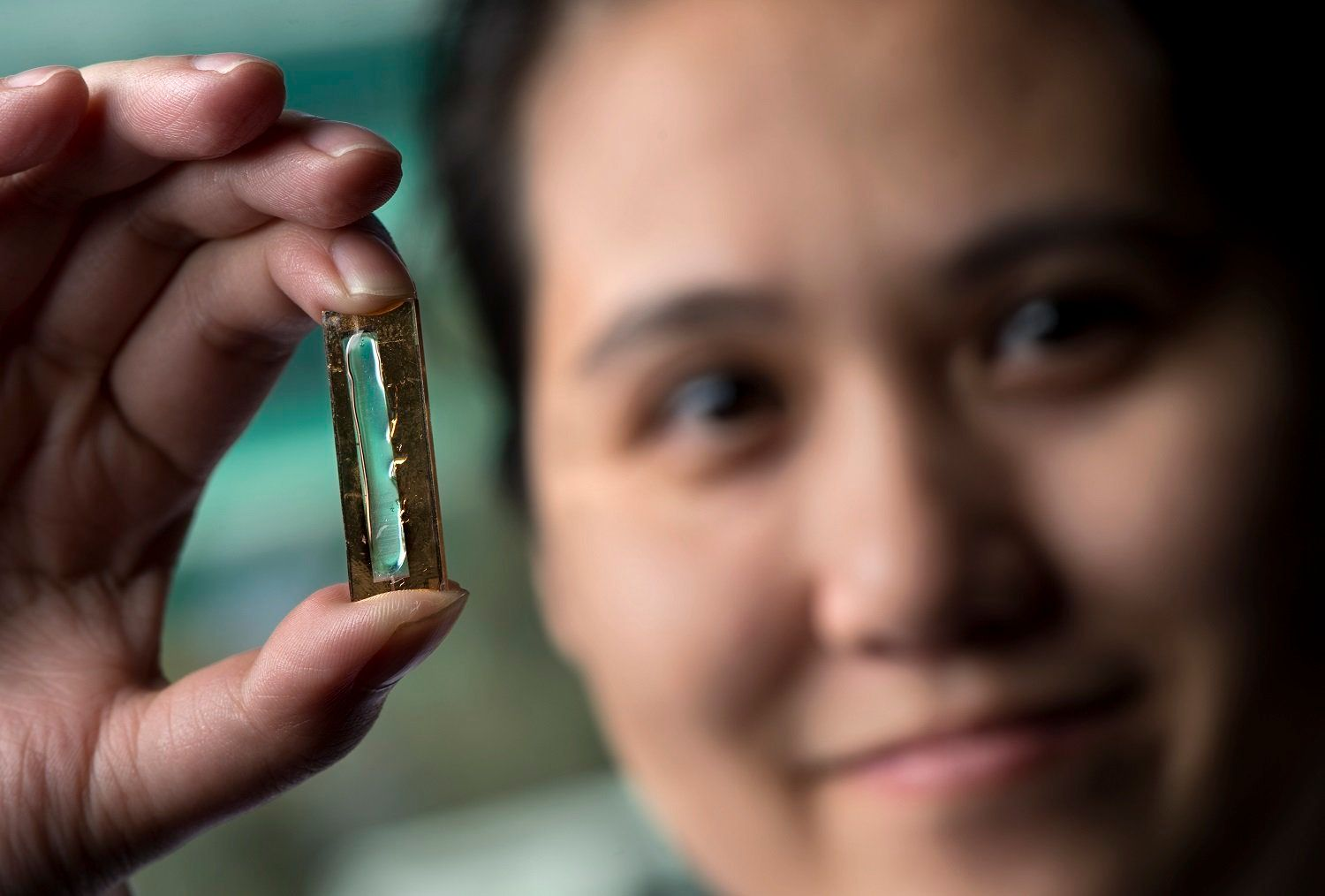 Mya Le Thai, a doctoral candidate at the University of California, Irvine, holdingthe nanowire-based technology that al