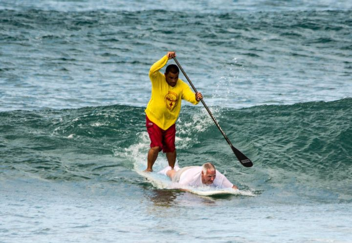 Hicks, 64, catching waves with Keali'i.