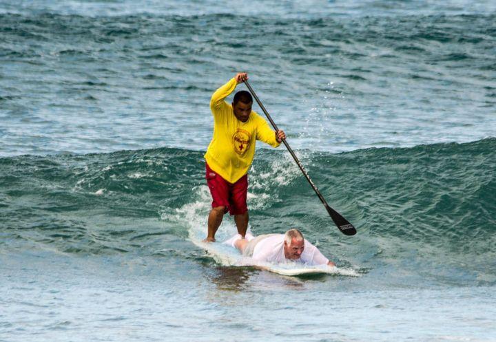 Hicks, 64, catching waveswith Keali'i.