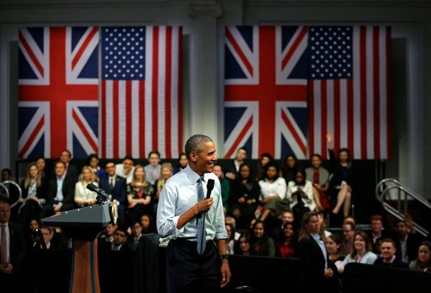Barack Obama at a town hall meeting in London on