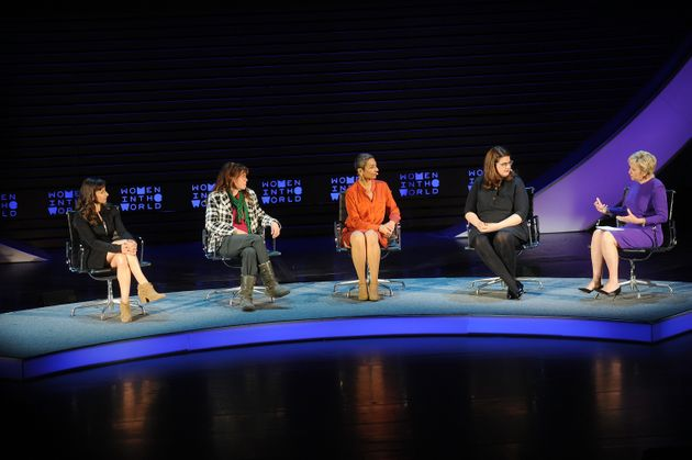 (L-R) Lynsey Addario, Liz Clegg, Zainab Salbi, Becca Heller, and Tina Brown speak during the Women In...