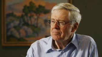 In this February 26, 2007 file photograph, Charles Koch, head of Koch Industries, talks passionately about his new book on Market Based Management. (Bo Rader/Wichita Eagle/MCT via Getty Images)