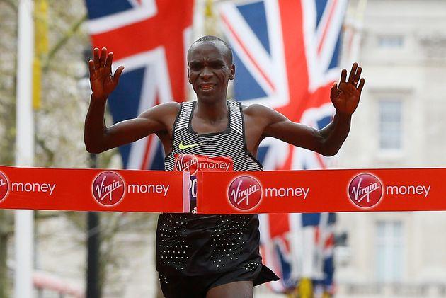 Eliud Kipchoge of Kenya wins the men's race in the 2016 London Marathon in