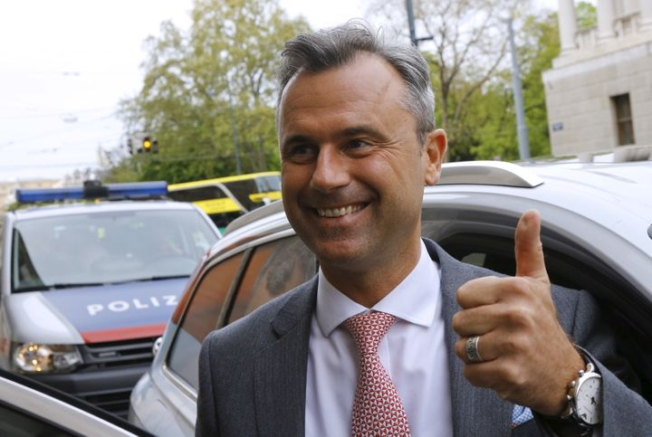 Presidential candidate Norbert Hofer arrives at the party headquarter of the Austrian Freedom party (FPO) in Vienna, Austria, April 24, 2016.