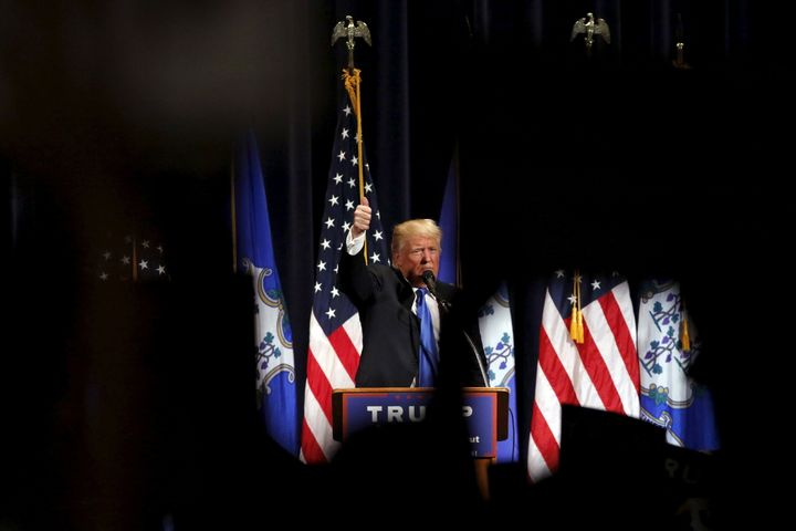 Republican U.S. presidential candidate Donald Trump is seen speaking at Saturday's campaign rally in Bridgeport, Connecticut.