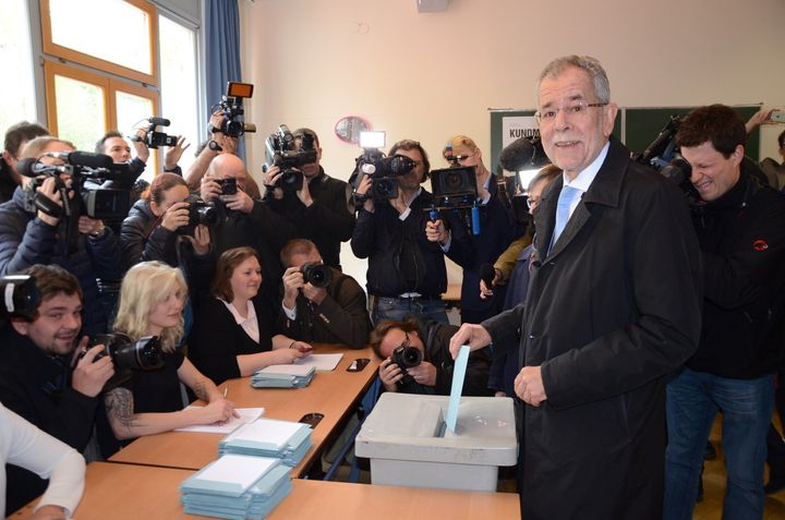Presidential candidate of Green Party, Alexander Van der Bellen casts his ballot at a polling station during Austrian presidential elections in Vienna, Austria, on April 24, 2016.