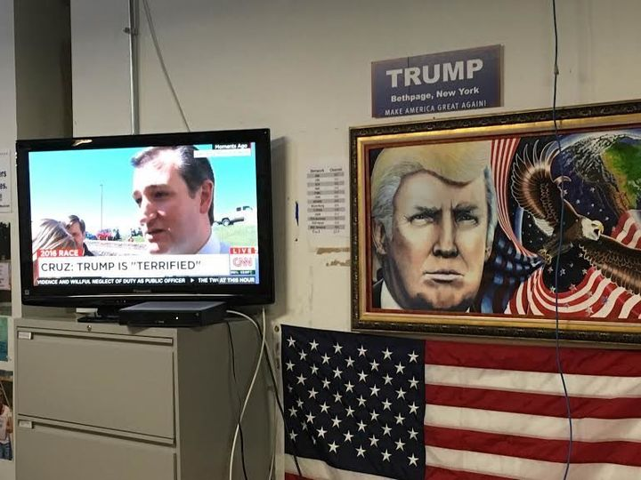 The one TV set in Trump's campaign headquarters was tuned in to CNN.