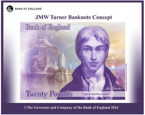 JMW Turner as he will appear on the £20 note from