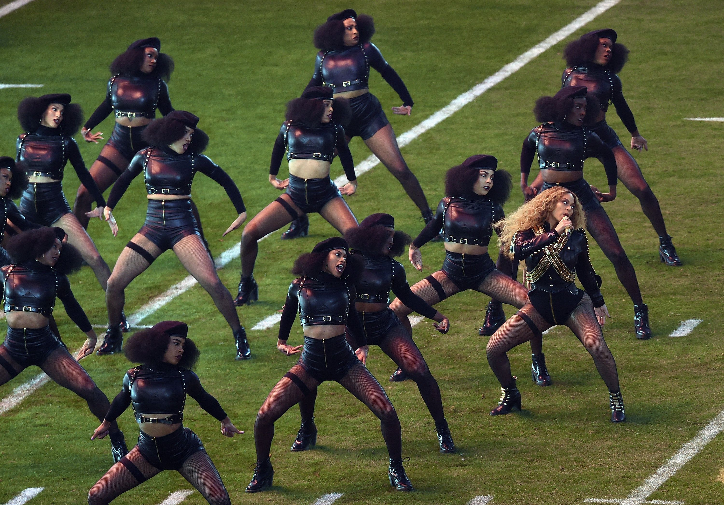 Beyoncé and her dancers at the Super Bowl earlier this