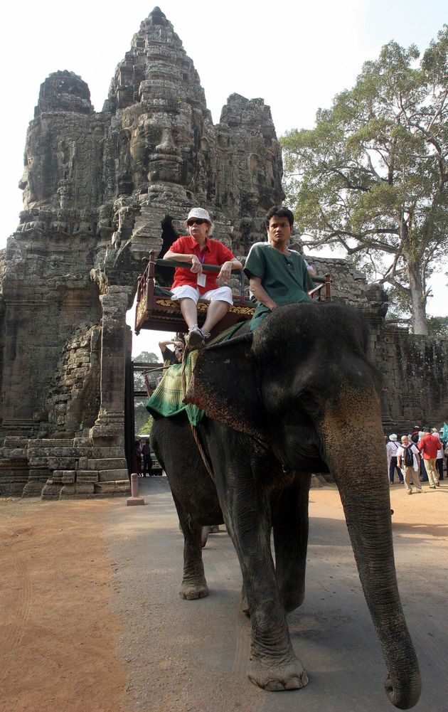 Elephant rides are commonly used by tourists travelling toCambodia's famed Angkor Wat temple in...