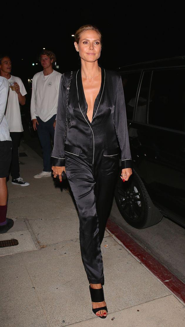 Heidi Klum Wears Pajamas to Art Opening in Los Angeles