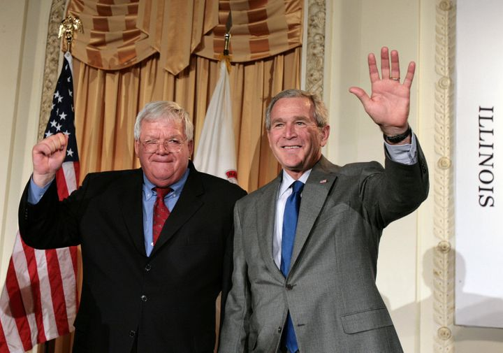 As House speaker, Dennis Hastert was widely credited for passing the Patriot Act. Ironically, the law's banking-rel