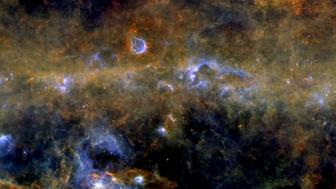 View of the galactic plane as seen by Herschel Space Observatory.