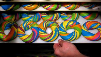 BROOKLYN, NY - APRIL 09: A tray of baked Rainbow Bagels is seen at The Bagel Store in Brooklyn, New York on April 09, 2016. (Photo by Yana Paskova/For The Washington Post via Getty Images)