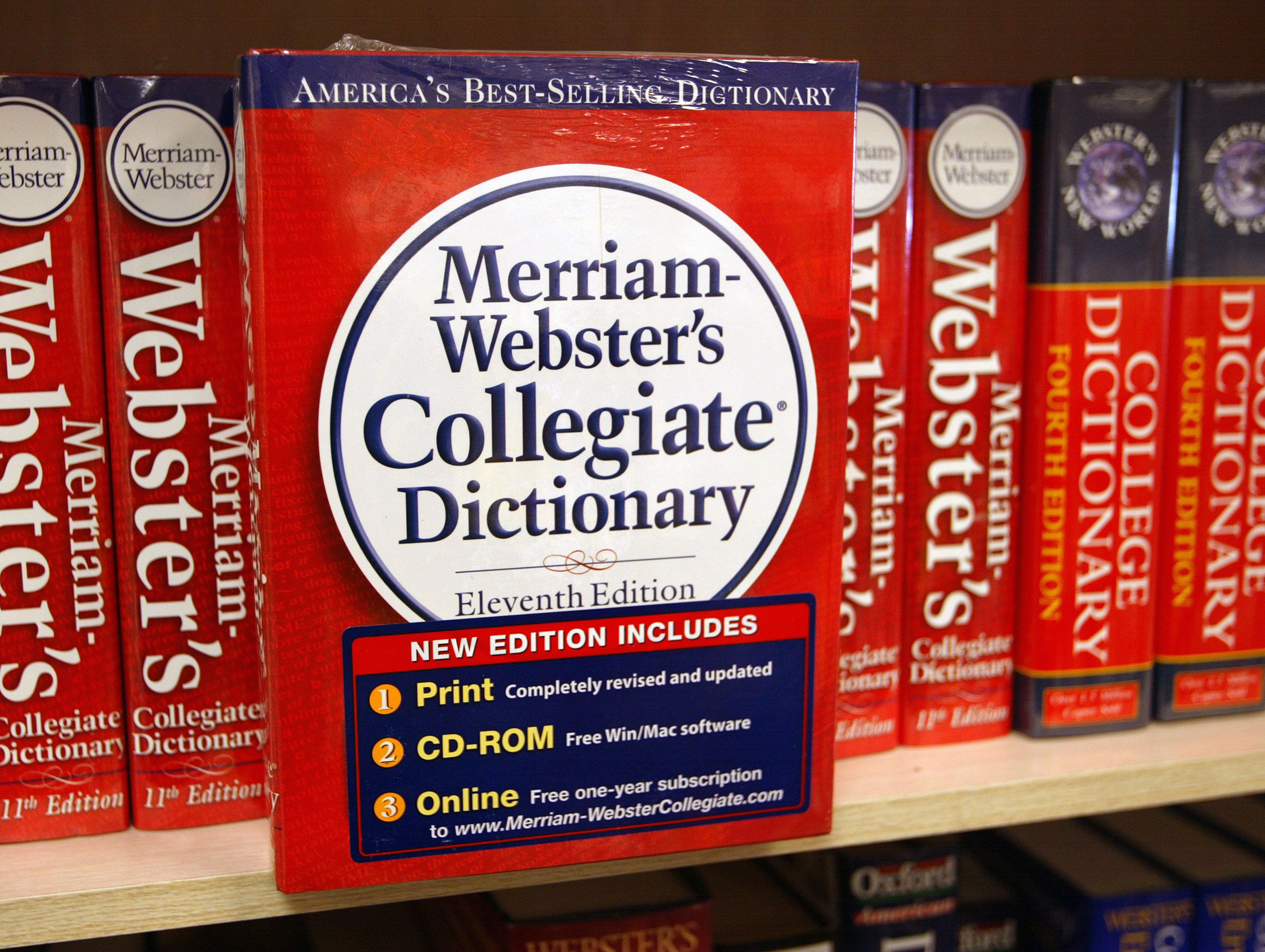 NILES, IL - NOVEMBER 10:  A Merriam-Webster's Collegiate Dictionary is displayed in a bookstore November 10, 2003 in Niles, Illinois. McDonald's said it is not happy with the word 'McJob', which is defined as a dead-end job, in the new Merriam-Webster's Collegiate Dictionary. Also, the fast-food giant announced that global Systemwide sales for Brand McDonald's increased 17.8 percent in October compared to October 2002.  (Photo by Tim Boyle/Getty Images)