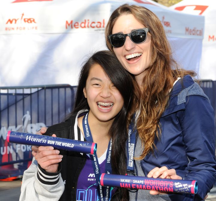 Sara Bareilles and Kimberley Dao attend 13th Annual MORE/SHAPE Women's Half-Marathon at Central Park on April 17, 2016 in New