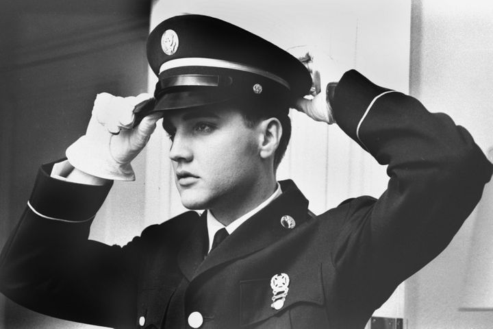 Elvis Presley is seen in a photograph from his 1958-1960 military service.