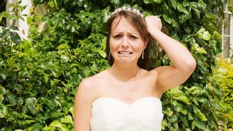 Unhappy bride pulling hair out