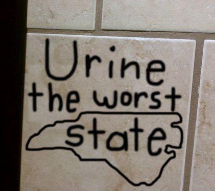 Funny Bathroom Wall Graffiti protest north carolina's 'bathroom bill' with bathroom graffiti