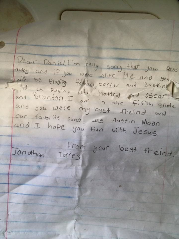 The heartbreaking letter was found washed up on a beach in Florida