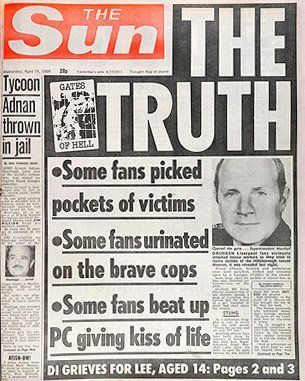 The Sun front page from19 April