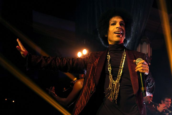 Prince performs onstage at The Hollywood Palladium on March 8, 2014, in Los Angeles, California.