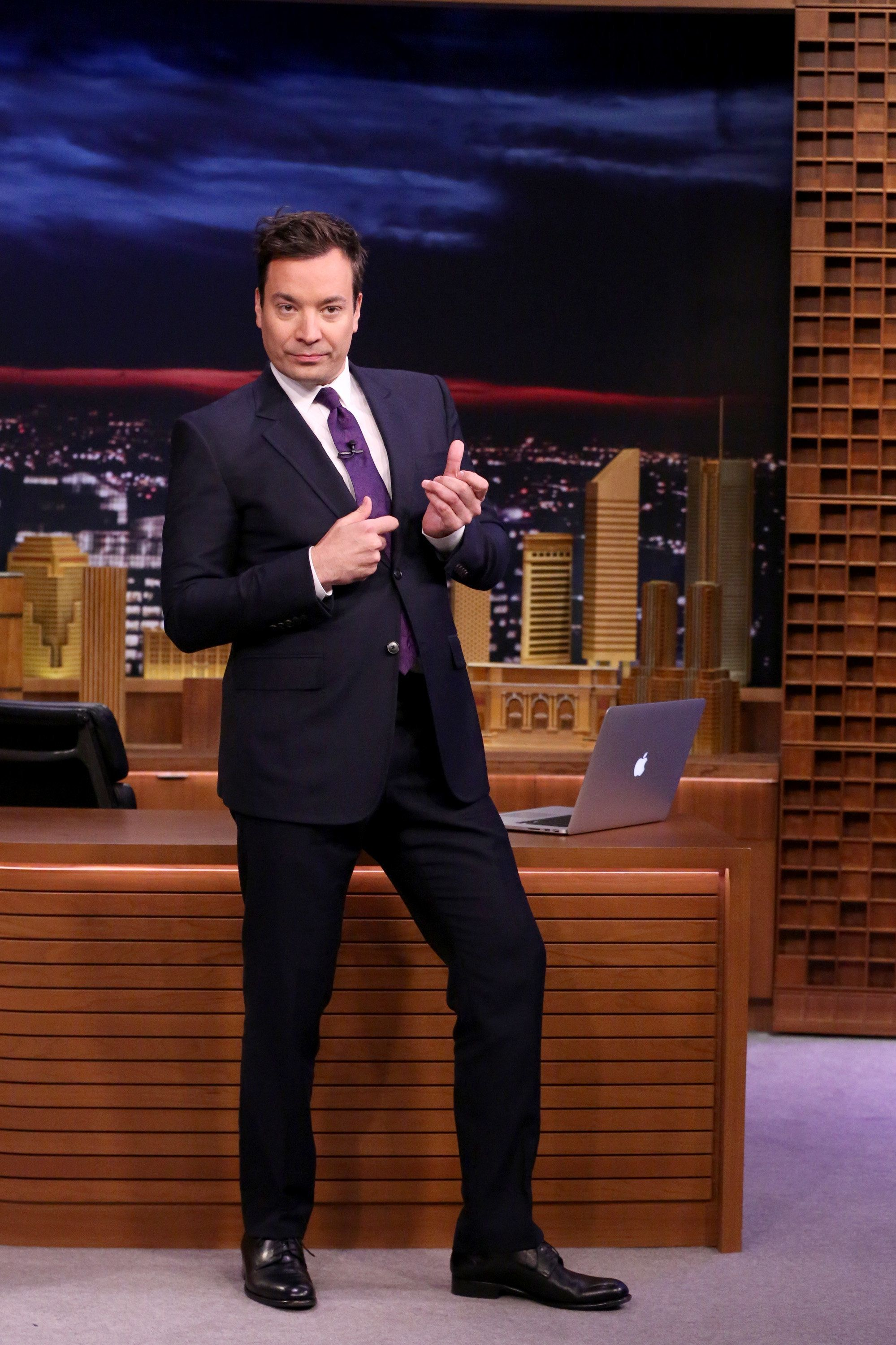 THE TONIGHT SHOW STARRING JIMMY FALLON -- Episode 0457 -- Pictured: Host Jimmy Fallon during the monologue on April 25, 2016 -- (Photo by: Andrew Lipovsky/NBC/NBCU Photo Bank via Getty Images)