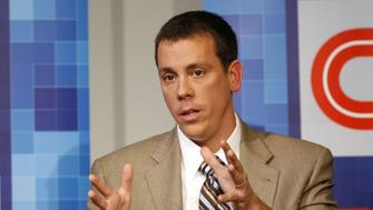 (L-R) Managing editor of TIME Richard Stengel and co-founder of Politico Jim VandeHei speak during Time Warner's Political Conference 2008 at the Time Warner Center on October 13, 2008 in New York City. 16949_717.JPG (Photo by Joe Kohen/WireImage)
