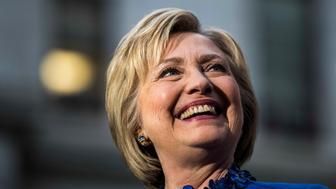 PHILADELPHIA, PA - With primary day only a day away, former Secretary of State Hillary Clinton meets and speaks to Philadelphia voters during a rally at the City Hall park in Philadelphia, Pennsylvania on Monday evening April 25, 2016. (Photo by Melina Mara/The Washington Post via Getty Images)