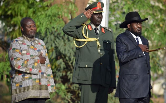 Riek Machar, left, was sworn in as First Vice President on Tuesday, pictured here with South Sudan's...