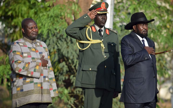 Riek Machar, left, was sworn in as First Vice President on Tuesday, pictured here with South Sudan's President Salva Kii
