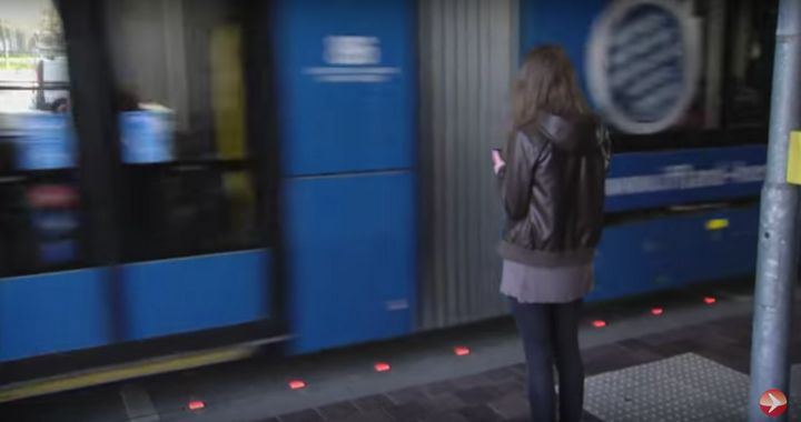 A company in Augsburg, Germany, has installed lights in the ground to protect inattentive smartphone users from traffic accid