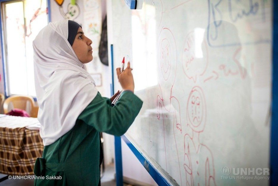 Omaima Hoshan is waging a campaign against child marriages in Jordan's Zaatari camp.<i></i>