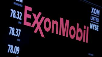 """The logo of Exxon Mobil Corporation is shown on a monitor above the floor of the New York Stock Exchange in New York, December 30, 2015. Standard & Poor's Ratings Services said on April 26, 2016, it had cut Exxon Mobil Corp's corporate credit rating to """"AA+"""" from """"AAA,"""" citing the impact of low oil prices. REUTERS/Lucas Jackson/File Photo      TPX IMAGES OF THE DAY"""